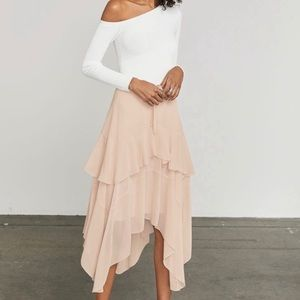 BCGBMaxazria Dusty Rose Scarf Hem Skirt, NWT, L